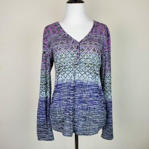 Athleta Boho Patterned Purple Blue Snap Henley Top